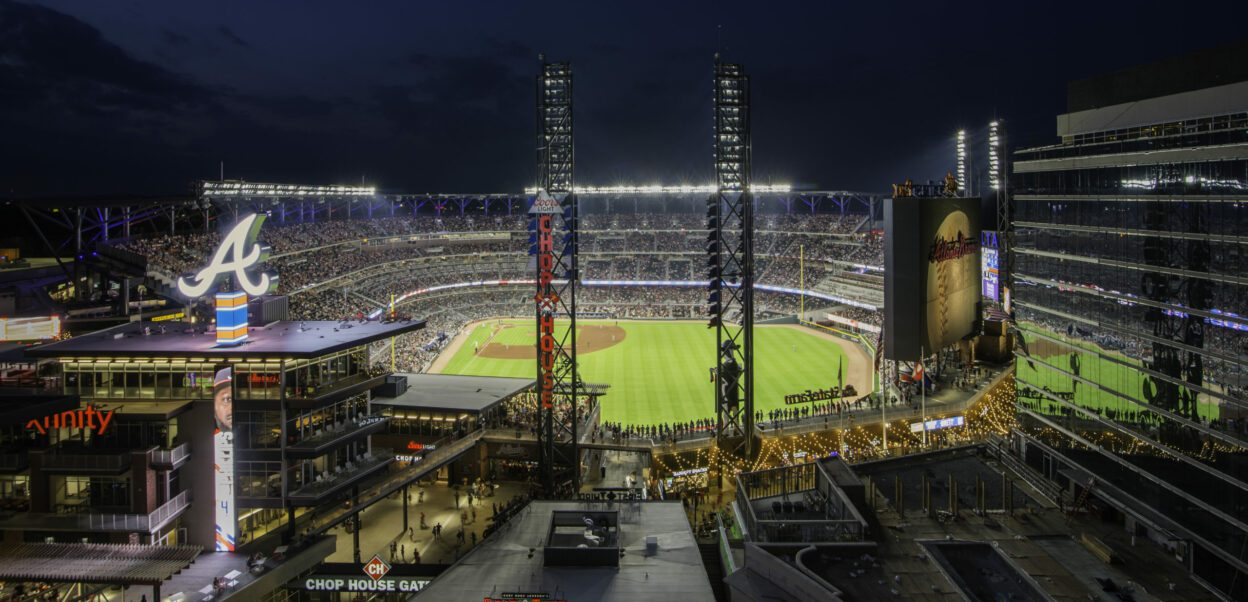View of Truist Park at night during Atlanta Braves game