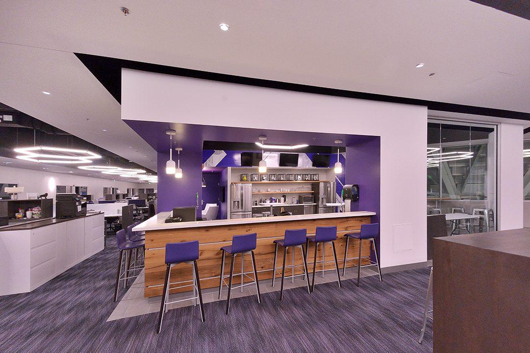 Purple lounge space for stadium staff