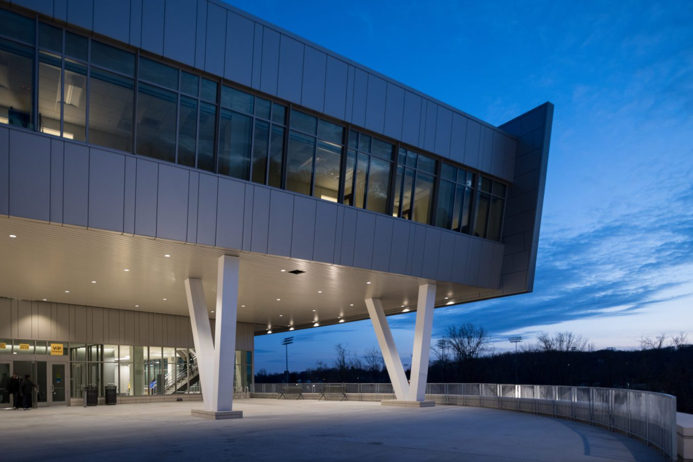 Exterior corner of the event center and sports arena