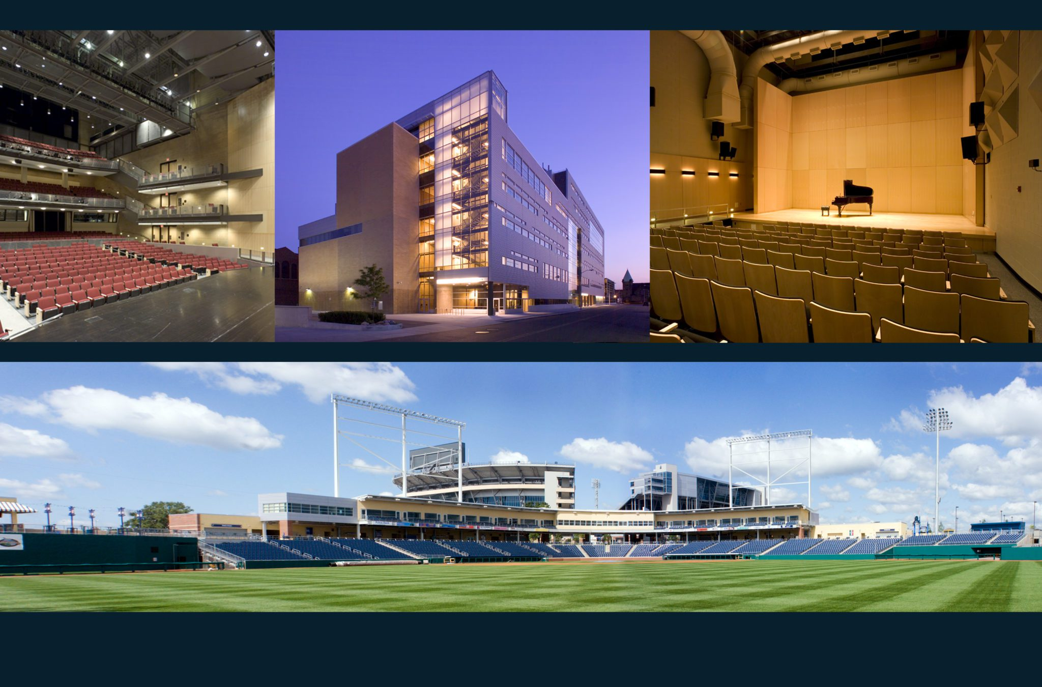 Collage of Detroit School of Arts and Medlar Field at Lubrano Park