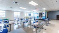 School desks with ambulance simulator on wall