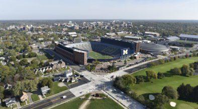 Aerial of full Michigan football stadium