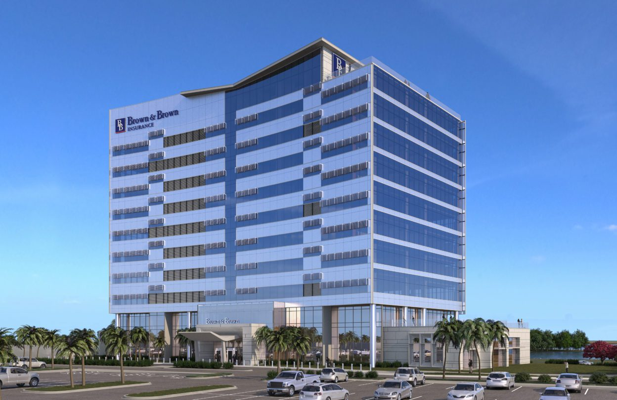 Exterior project rendering of Brown and Brown Insurance building