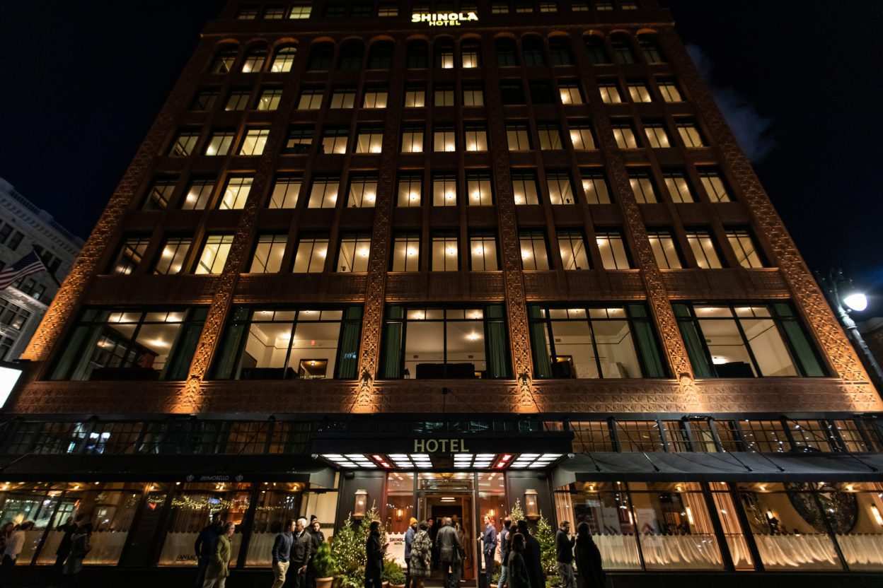 Shinola Hotel entrance at night