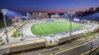 American Legion Memorial Stadium Aerial Night View