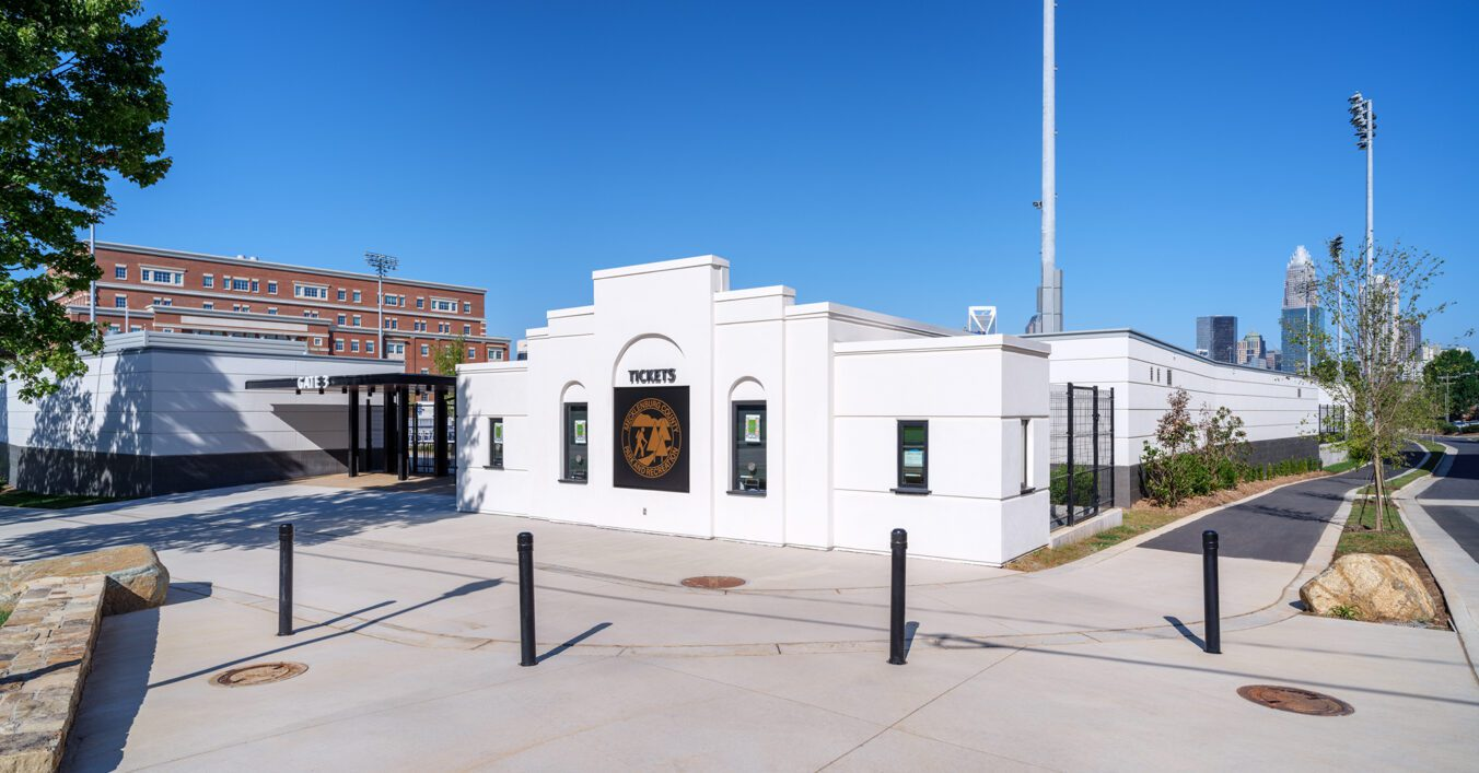 American Legion Memorial Stadium Ticket Booth and Gate and Greenway Walkway