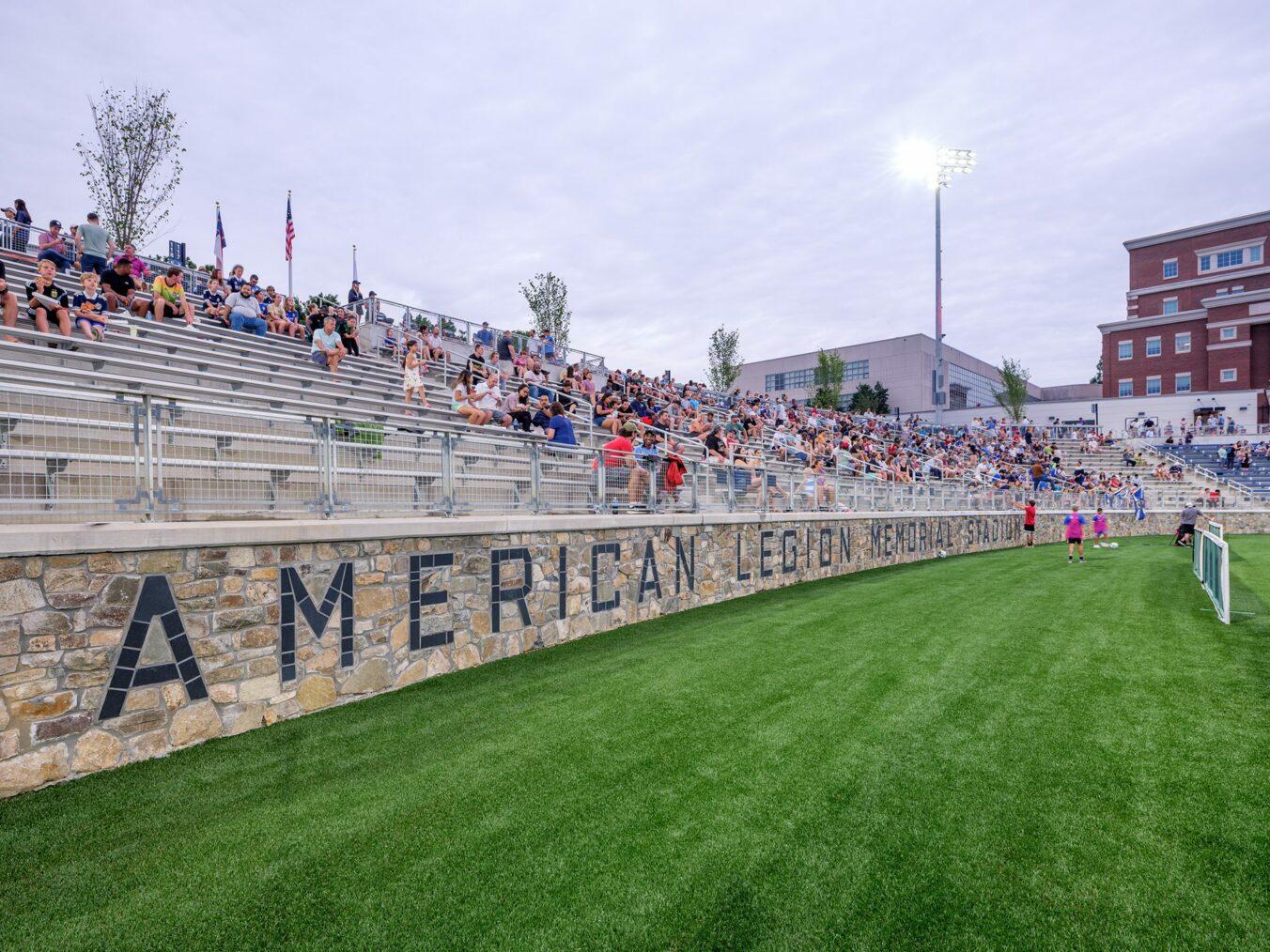 American Legion Memorial Stadium Restored Stone Wall on Opening Night