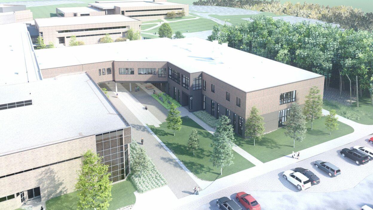 OCC Science Building Aerial Rendering