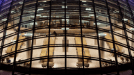 Aerial view of UC Mansueto library glass dome at night