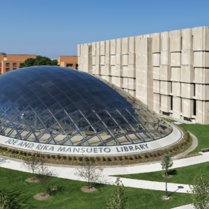 Aerial view of Mansueto Library glass dome