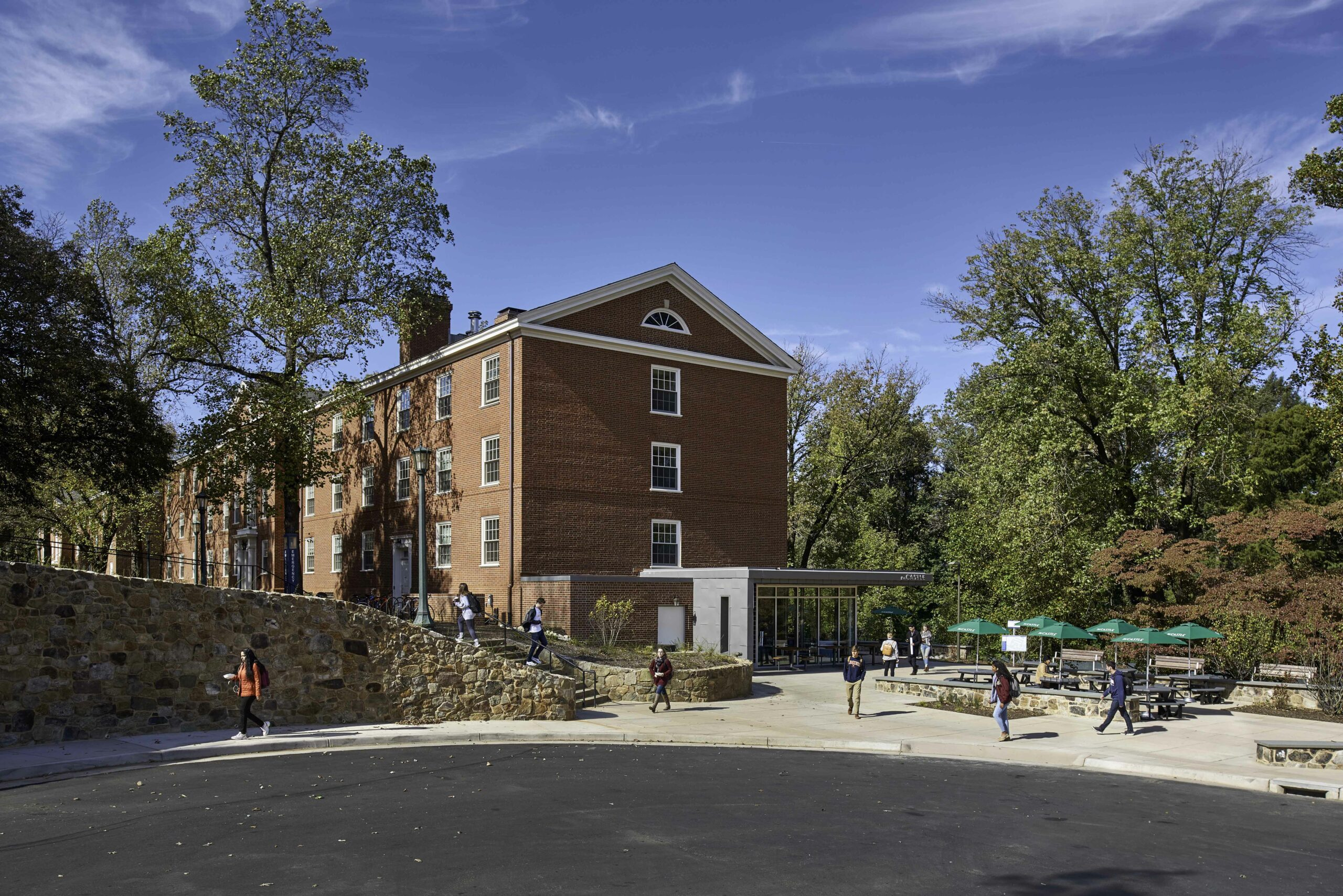 Relocated cul-de-sec and new retaining wall outside of UVA McCormick Bonnycastle