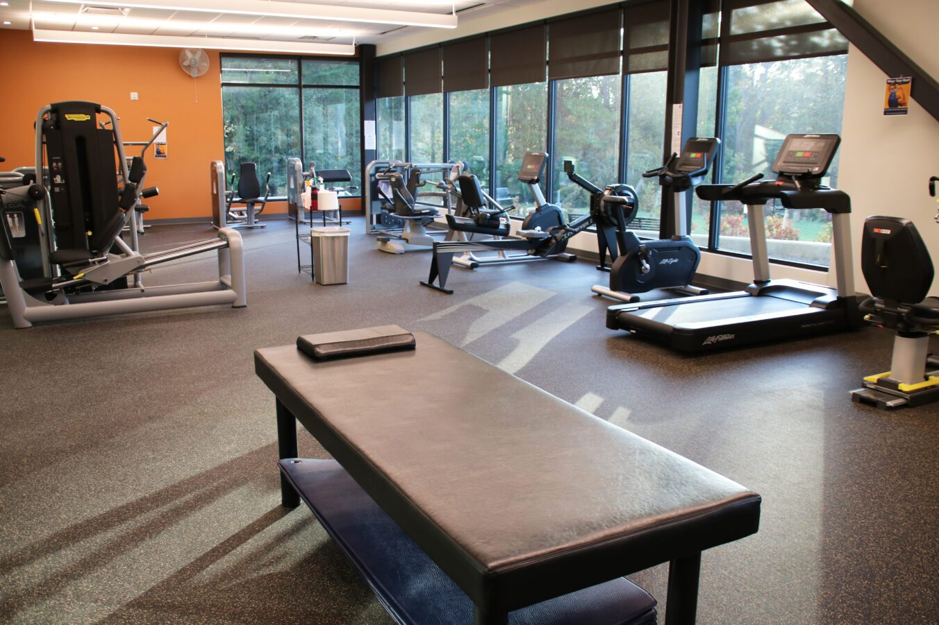 Center at Belvedere Fitness Room with Weights, Equipment, Therapy Table